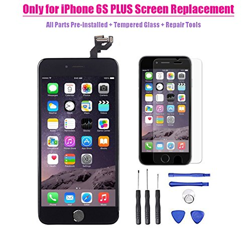 for iPhone 6s plus LCD Screen Touch Digitizer Full assembly Replacement with 3D Touch Panel, Home Button, Front Camera, Ear Speaker, Repair Tools, Not fit for iPhone 6 plus or iPhone 6s (Black)