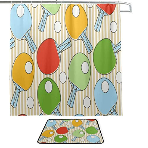 XINGCHENSS Table Tennis National Football Competition Single-Sided Printing Shower Curtain and Non-Slip Bath Mat Rug Floor Mat Combination Set with 12 Hooks for Bathroom Decor and Daily Use