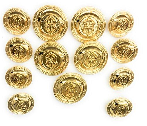 13 Gold Buttons Set - Cross Crest~ 14kt Plated ~Celebrities , Designers. -