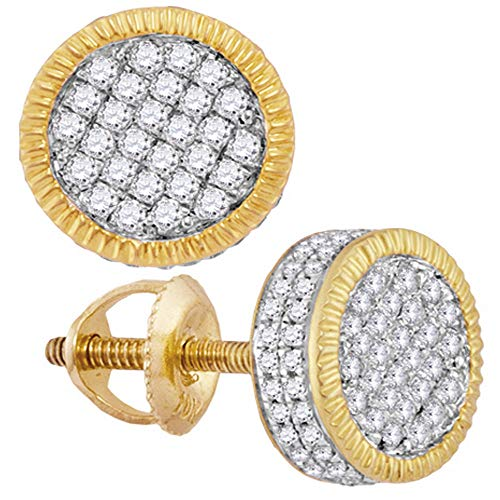 (Diamond Mens Fluted Circle Cluster Stud Earrings 1/2ct 10k Yellow Gold)
