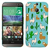 Glisten - Designer Hard Plastic Case for HTC One M8 - Llama and Cactus Pattern Printed Slim Profile Cute Snap On Back Cover