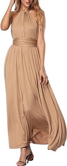 TALLA L(ES 44-46). FeelinGirl Mujer Vestido Maxi Convertible Espalda Decubierta Cóctel Multiposicion Tirantes Multi-Manera Largo Falda para Fiesta Ceremonia Sexy y Elegante Caqui L(ES 44-46)
