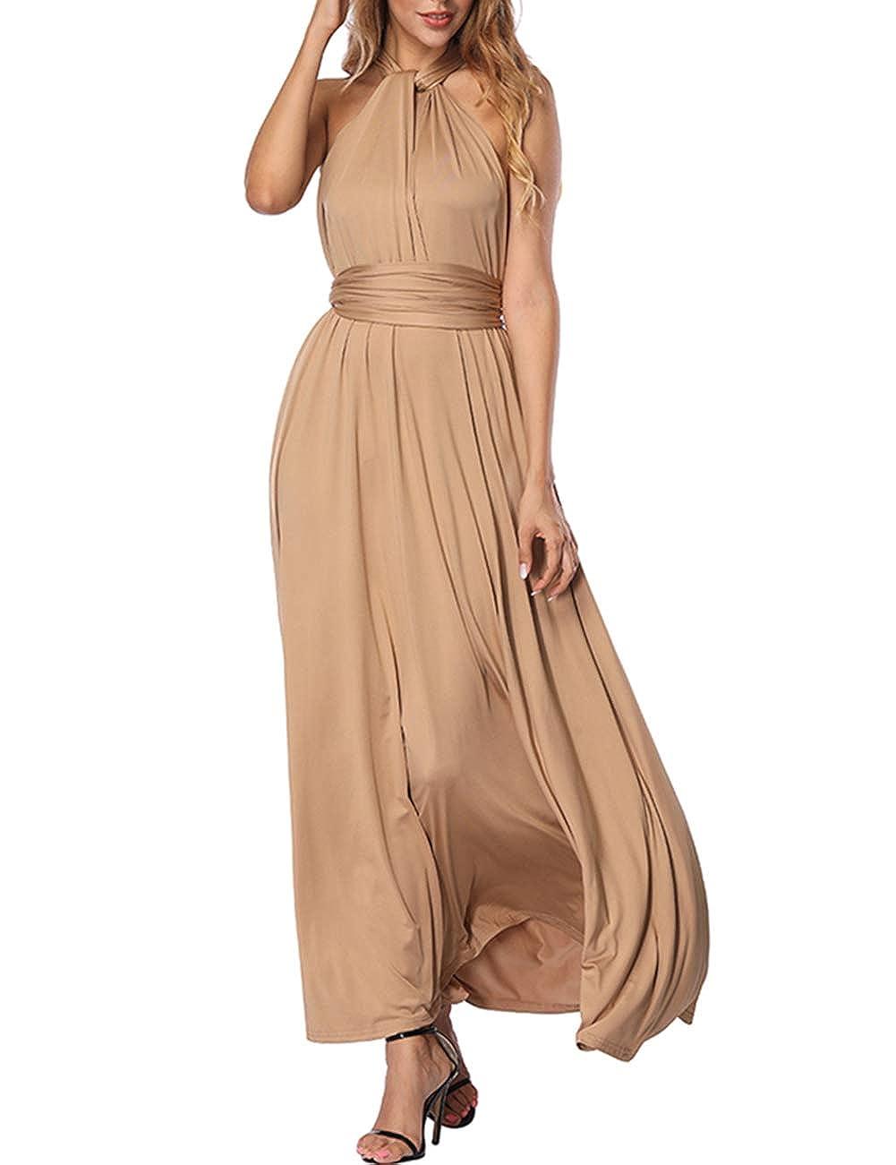 TALLA XL(ES 46-50). FeelinGirl Mujer Vestido de Noche Longitud Máxima Falda Fiesta Cóctel Tirantes Convertibles Multi-Manera Beige XL(ES 46-50)