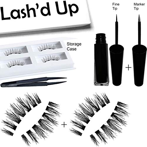 Lash'd Up All Day Tattoo Very Black Magnetic Liner & Human Hair Lashes (2 Pairs) Kit Waterproof Reusable Child Cancer Partner | Eyeliner 5ml + Femme Fatale Human Hair Lashes (Midsize-Large Eyes)