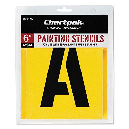 Chartpak 01575 Painting Stencil Set, A-Z Set/0-9, Manila, 35/Set