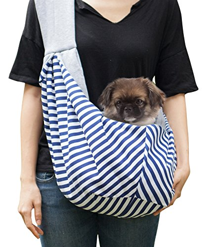 Timetuu adjustable handsfree dog carrier sling with unique buckles, zippered pocket and water proof bag for small dogs and puppies. Reversible double sided ultra soft tote fits all heights