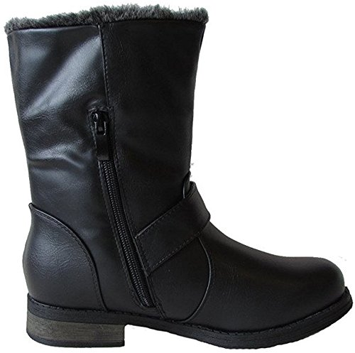 DEV Women's Military Spike Combat Mid Calf Zipper Low Heel Round Toe Faux Fur Lining Boot - stylishcombatboots.com