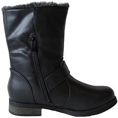 DEV Women's Military Spike Combat Mid Calf Zipper Low Heel Round Toe Faux Fur Lining Boot