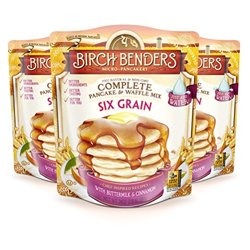 (All Natural Six-Grain Buttermilk and Cinnamon Pancake and Waffle Mix by Birch Benders, Whole Grain, Made with Whole Wheat, Rice, Oats, Flax, Cassava and Potato, Non-GMO, 72 Ounce (24oz 3-pack))