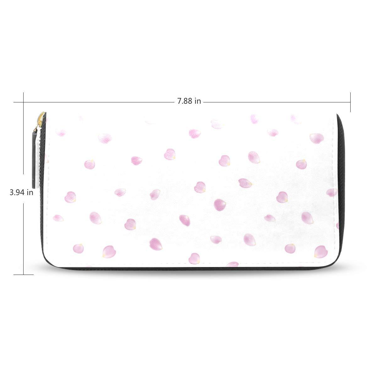 Women Pink Rose Petals Heart Shaped Leather Wallet Large Capacity Zipper Travel Wristlet Bags Clutch Cellphone Bag