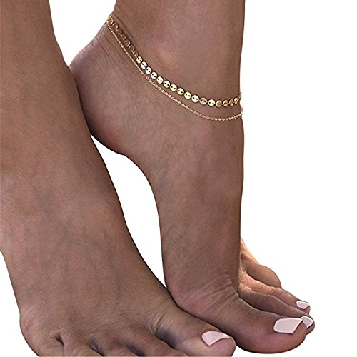 Obeino Double Anklets Golden Love Coin Chain Simple Fashion for Lady Women Girls Jewelry B07CMTNW1R/_US