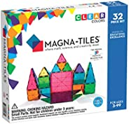 Magna-Tiles 32-Piece Clear Colors Set, The Original, Award-Winning Magnetic Building Tiles for Kids, Creativit