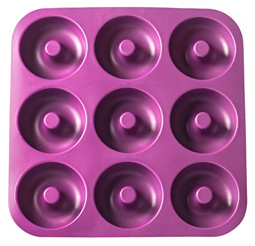 Large Professional Grade Non-Stick Silicone Donut Pan, Makes 9 Full Size Donuts, BPA Free, Oven, Dishwasher and Freezer Safe Donut Mold by Unicorn Glitter LLC (Purple)