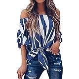 UOFOCO Women Blouse Striped T Shirts Off Shoulder Waist Tie Short Sleeve Casual Tops Blue