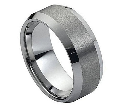 Hers Satin Tungsten (8mm Tungsten Carbide Polished Beveled Edge and The Satin/Brushed Finish Center Wedding Band Ring for Him Or Her)