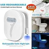 Rechargeable toilet light , cuvette toilette lumière avec IP67 étanches , Elimi 12 changements de couleur de la LED Eclairage activée par mouvement Lampe de Toilette,Motion Activated Sensor in Dark