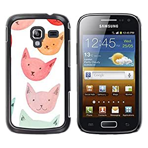 Design for Girls Plastic Cover Case FOR Samsung Galaxy Ace 2 Pink Orange Red Blue Cat Faces OBBA