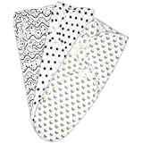Coney Island Cotton Baby Wraps| 3 Pack| Premium Quality Swaddle Blanket| Adjustable Infant/Baby Wrap Set For Maximum Comfort| Available In 3 Cute & Modern Patterns| Top Grade Baby Products