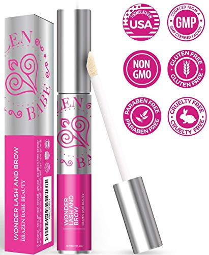 Brazen Babe Wonder Lash and Brow, Naturally Derived Eyelash and Brow Growth Serum, with Vitamin E and Castor Oil, Non-GMO, Cruelty Free, Paraben Free, Gluten Free, Made in the USA, 0.34 fl. oz.