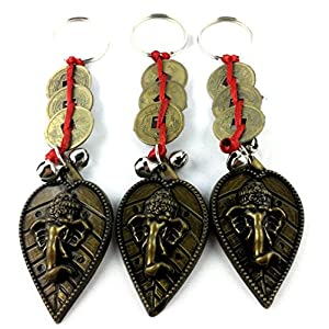 M'VIR Ganesha Keychain with Chinese Feng Shui Lucky Coin, Pack of 3 Comes with Secure Velvet Pouch.