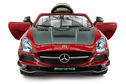 (2017 MERCEDES SLS AMG 12V Battery Powered Ride on Toy Car with High-Tech Built in LCD TV, UV Lights, Leather Seat, Parent)