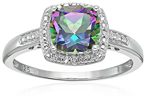 Sterling Silver Cushion Mystic Topaz and Diamond Accented Halo Engagement Ring, Size 7 ()