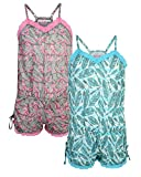 Girls Pajama Romper (2 Pack) Feathers, Size 5/6