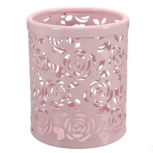 Hollow Rose Flower Pattern Cylinder Pen Pencil Pot Holder Co