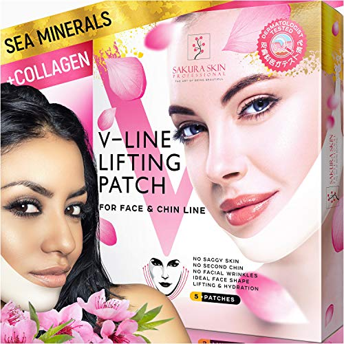 V Line Mask Neck Mask Face Lift V Lifting Chin Up Patch Double Chin Reducer Neck Lift V Up Contour Tightening Firming Moisturizing Сollagen Chin Mask V Shape Face Lifting V Zone Mask Tape (Best Cream For Tightening Jaw Line)
