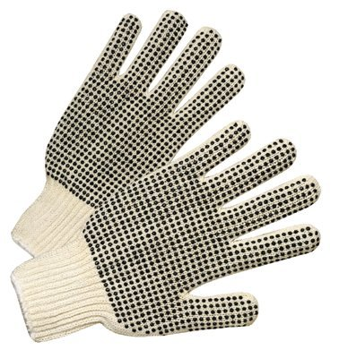 PVC-Dot String-Knit Gloves, Men's, Knit-Wrist, Natural White, Dots 2 Side (96 Pack) by Anchor Brand
