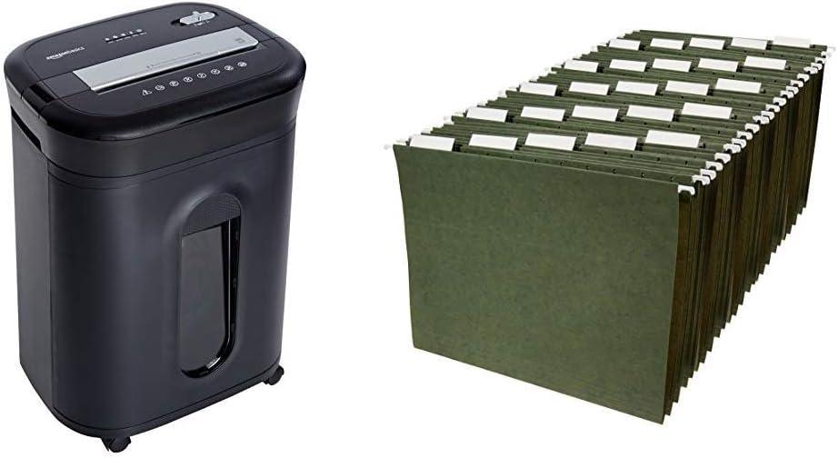 AmazonBasics 15-Sheet Cross-Cut Paper, CD Credit Card Office Shredder & Hanging Organizer File Folders - Letter Size, Green, 25-Pack