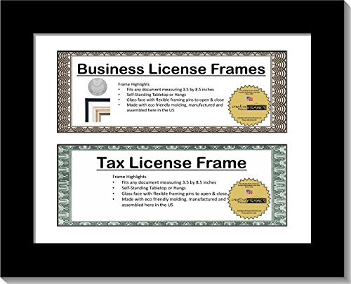 CreativePF [CL8.5x11bk] Black Double License Business Frames for Professionals 8.5 by 11-inch Frame w/Mat, Self Standing Easel Back and ()