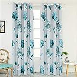 BLagenertJHigh Shading Japanese Banana Leaves Window Curtain Panel Kids Bedroom Home Decor - Blue