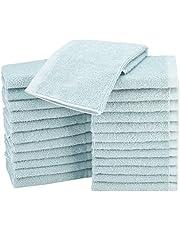 Amazon Basics katoenen washandjes - 24 stuks, ijsblauw