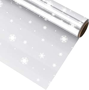 TOYANDONA Clear Cellophane Wrap Roll Snowflake Florist Paper Wrapper 3 Mil Thick Crystal Wrapping Paper for Gifts Baskets Flowers Food Arts & Crafts
