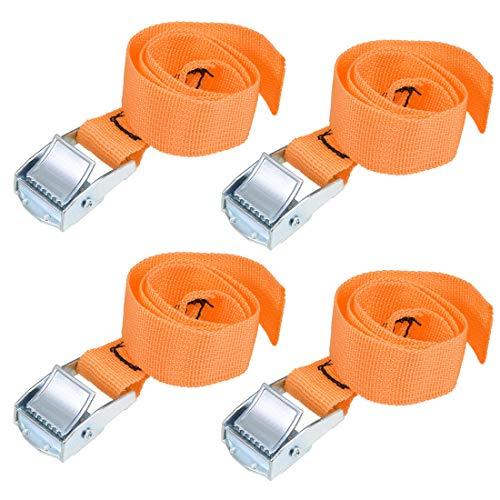 uxcell 荷物ストラップ ラチェット式 ベルト 荷物固定ロープ 荷物落下防止 カムバックル付き ロード250Kg 0.5Mx25mm オレンジ 4個入