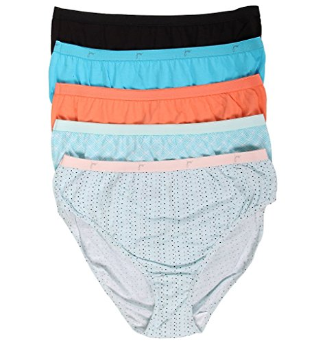 Just My Size Cotton Panties (Just My Size Women's 5 Pack Cotton Hi Cut Panty, Assorted, 11)