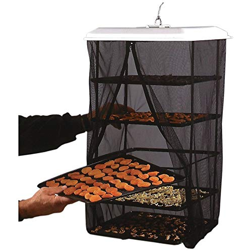 Food Pantrie Solar Food Dehydrator - Hanging Dehydration System - Non-Electric, Eco Friendly, Natural Way To Air Dry Foods, Fruits, Vegetables, Herbs, Jerky & More. 5-Tray Dryer (1) by Handy Pantry (Sun Food Dehydrator)