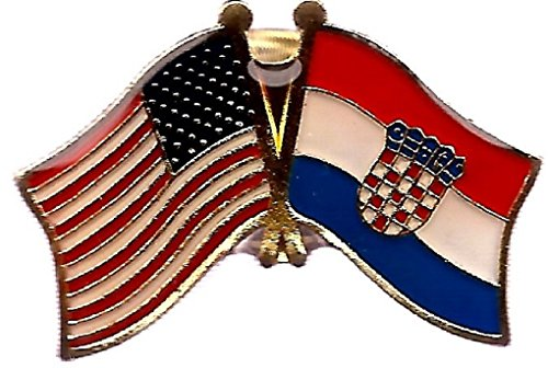 AES USA American & Croatia Country Flag Bike Hat Cap lapel ()