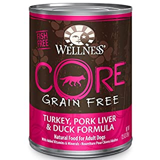 Wellness Core Natural Wet Grain Free Canned Dog Food, Turkey, Pork Liver & Duck, 12.5-Ounce Can (Pack Of 12)