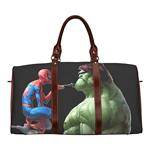 The Amazing Spiderman VS The Incredible Hulk Custom Waterproof fabric Two-sided Printing Large Duffle Sports/Travel Bag with Shoulder Straps