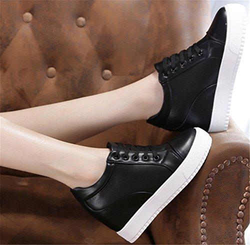Satuki Femmes Haut Haut Wedge Mode Sneakers Talon Caché Plate-forme Casual Chaussures Noir-2