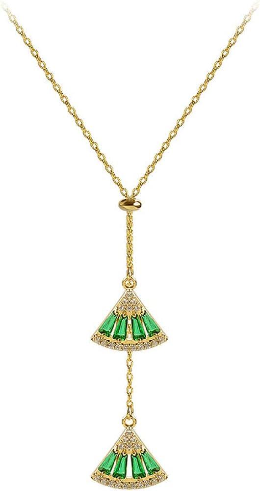 xinmier Esmeralda en Forma de Abanico Collar de Diamantes de Piedras Preciosas Flash Moda Avanzada Temperamento Ligero Titular de Cadena de Cuentas Cortas Colgante Femenino Cuerda Encanto Femenino