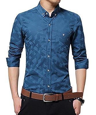 QIYIFAN Men's 100% Cotton Casual Slim Long Sleeve Button Down Printed Dress Shirts