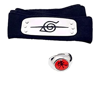 Master Online Naruto Headband, 2 Pcs Naruto Headband and Ring Toy with Plated Cosplay Leaf Village Ninja Uchiha Itachi (Black)