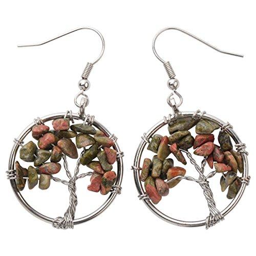 (YACQ Natural Gemstone Tree Dangle Drop Earrings Handcrafted Jewelry for Women (unakite))