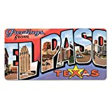 Style in Print Greetings El Paso TX Old Travel Poster Car Aluminum License Plate