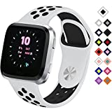 Silicone Sport Band for Fitbit Versa Smart Watch Replacement Bracelet Watch Band Soft Sport Strap for Fitbit Versa (White Black)