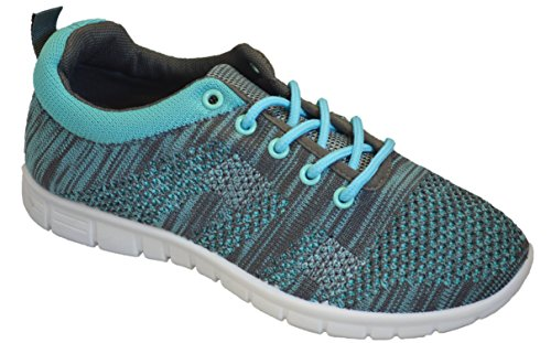 Shop Pretty Girl Womens Sneakers Athletic Knit Mesh Running Light Weight Go Easy Walking Casual Comfort Running Shoes 2.0 (7, Aqua Mint with Memory Foam Insole) (Tennis Shoe Women)