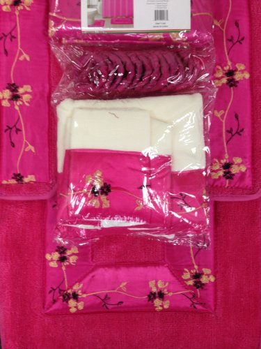 hot pink 18 piece bathroom set 2 rugs mats 1 fabric shower curtain 12 fabric covered rings 3. Black Bedroom Furniture Sets. Home Design Ideas